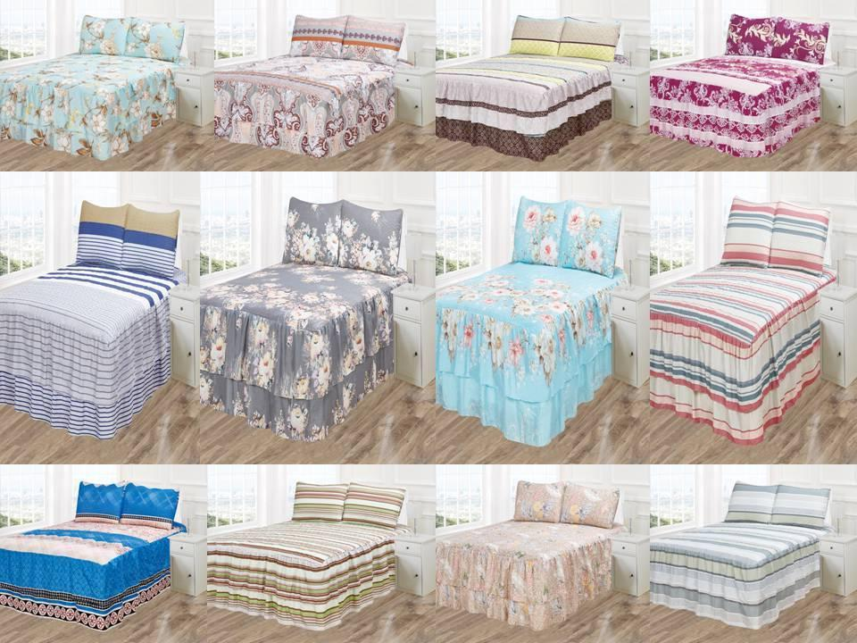 3PC VICKY BEDSPREAD COVERLET SET PRINTED PINSONIC DOUBLE RUF