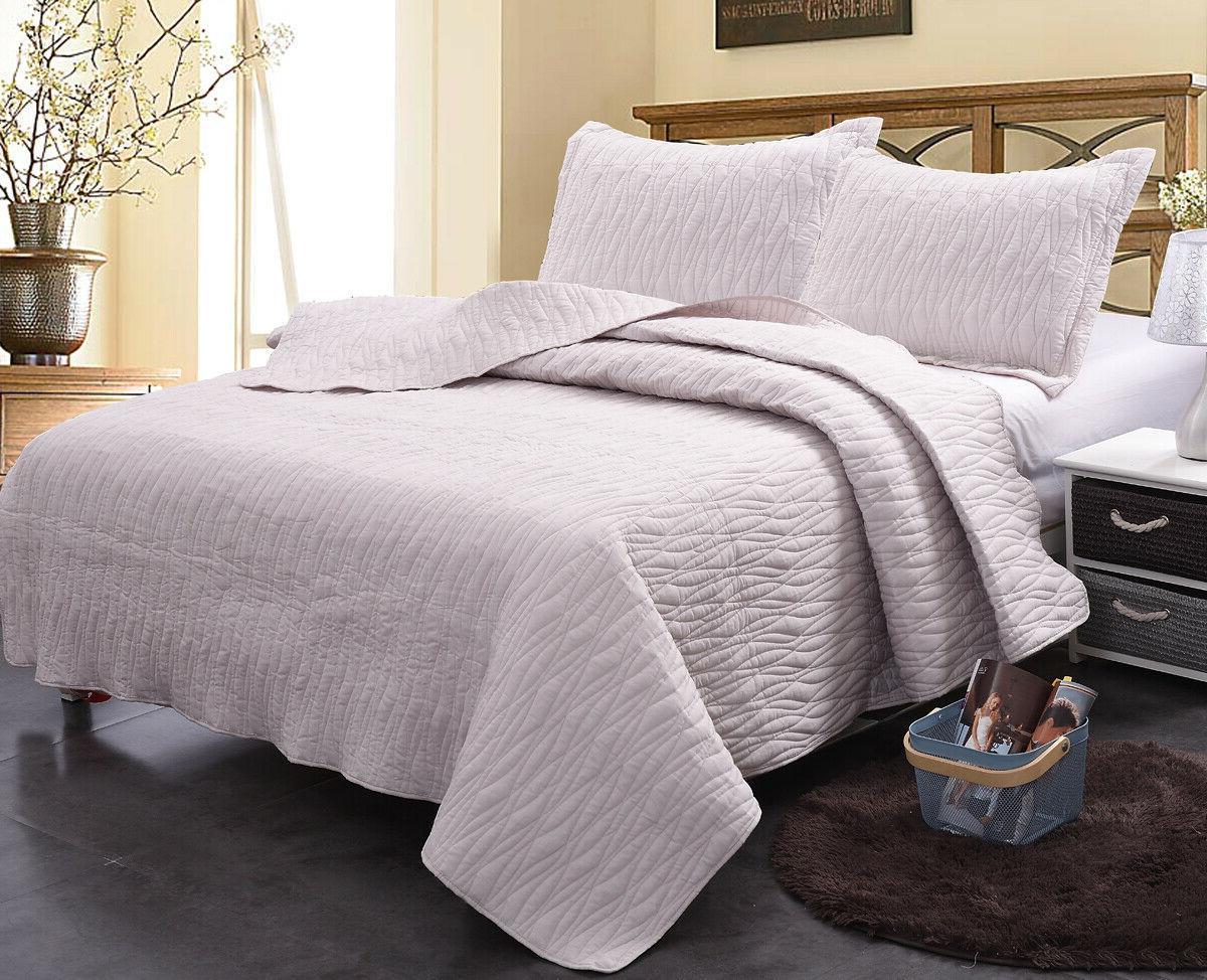 3pcs Cotton Geometric Set, Printed Bedspread Coverlet Bedding