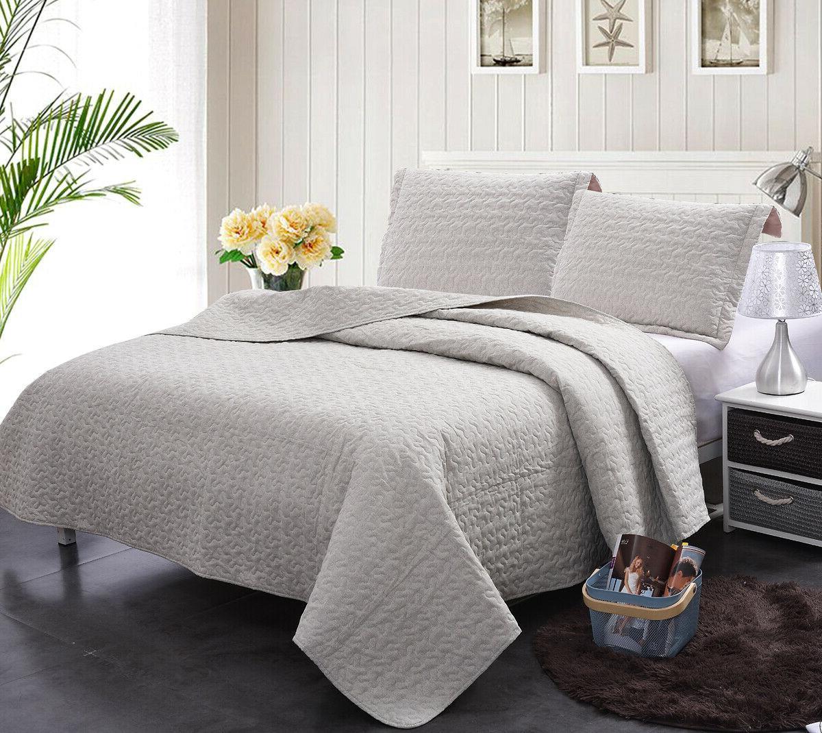 3pcs Geometric Set, Printed Bedspread Coverlet