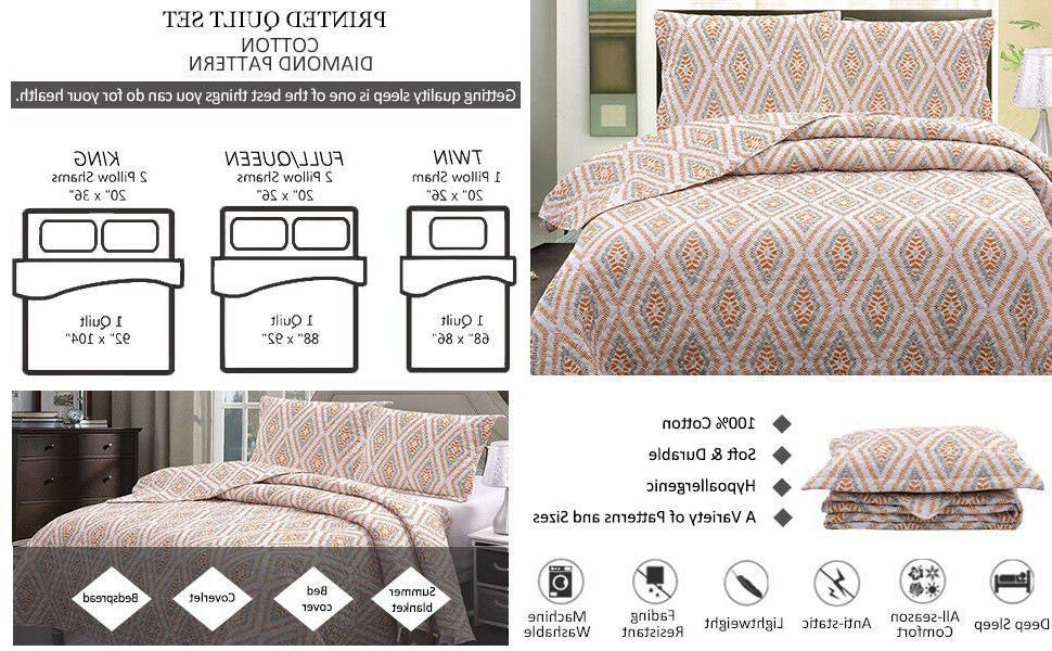 3pcs Cotton Geometric Quilt Set, Diamond Printed Bedspread Coverlet Bedding Set