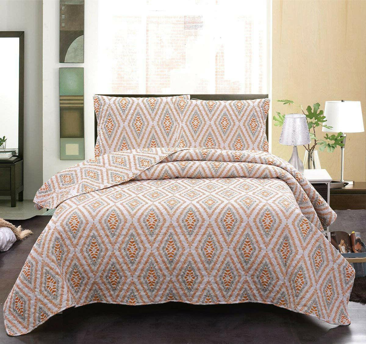 3pcs cotton geometric quilt set diamond printed