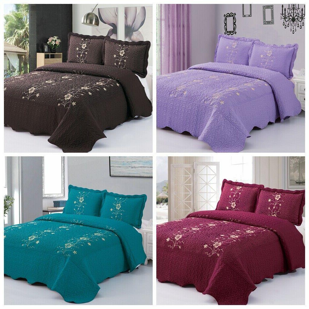 3pcs lightweight quilt bedspread set microfiber embroidery