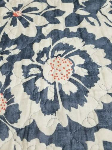 The Big reversible denim floral, quilt 86×93in. Set