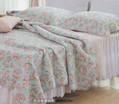 3PCS Shabby Rose Cotton Coverlet