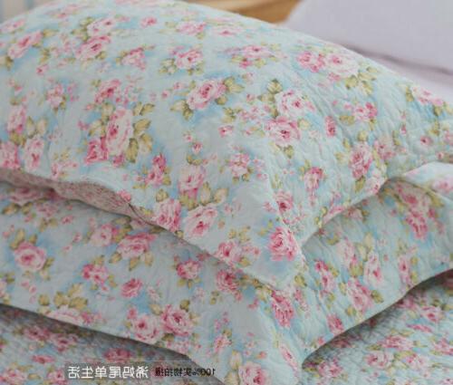 3PCS Rose Cotton Coverlet Bedspread