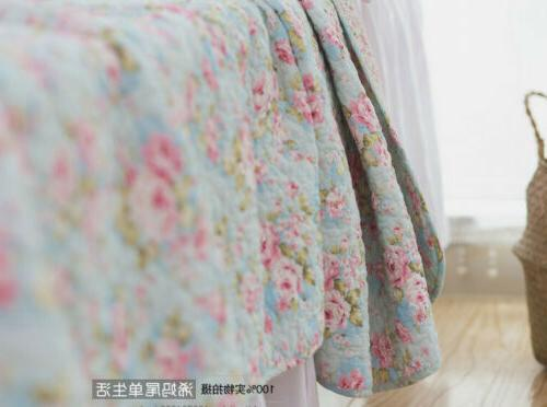 3PCS Chic Country Rose 100% Cotton Coverlet Bedspread Queen