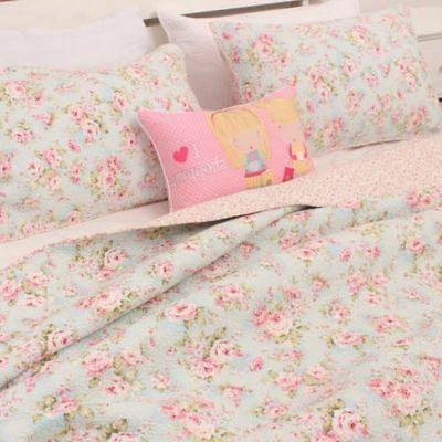 3PCS Shabby Chic Country Rose Coverlet Queen Set 100% Cotton