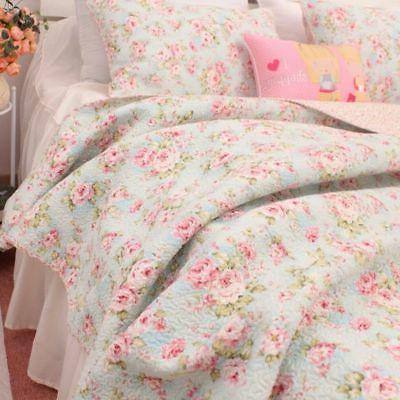 3pcs shabby chic country rose quilt coverlet