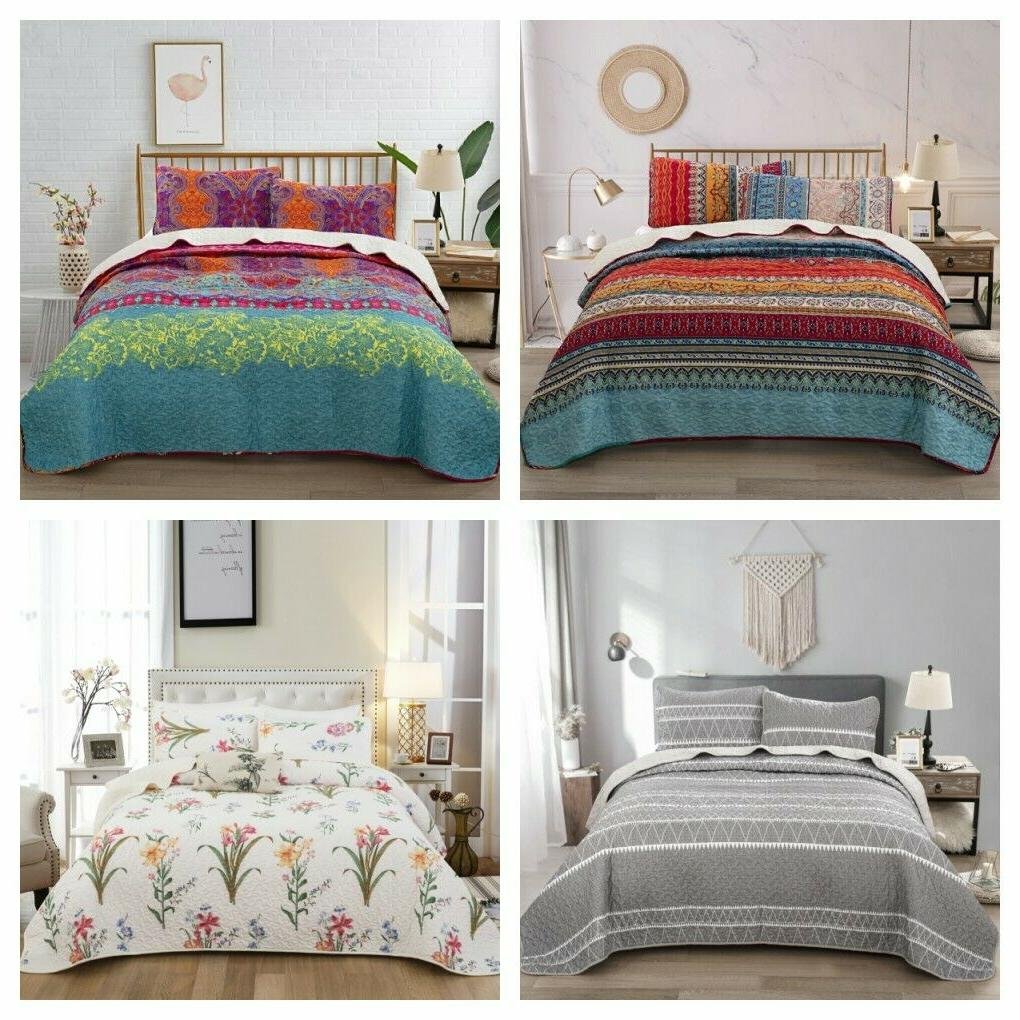 3pieces bedspread coverlet set oversized bed cover