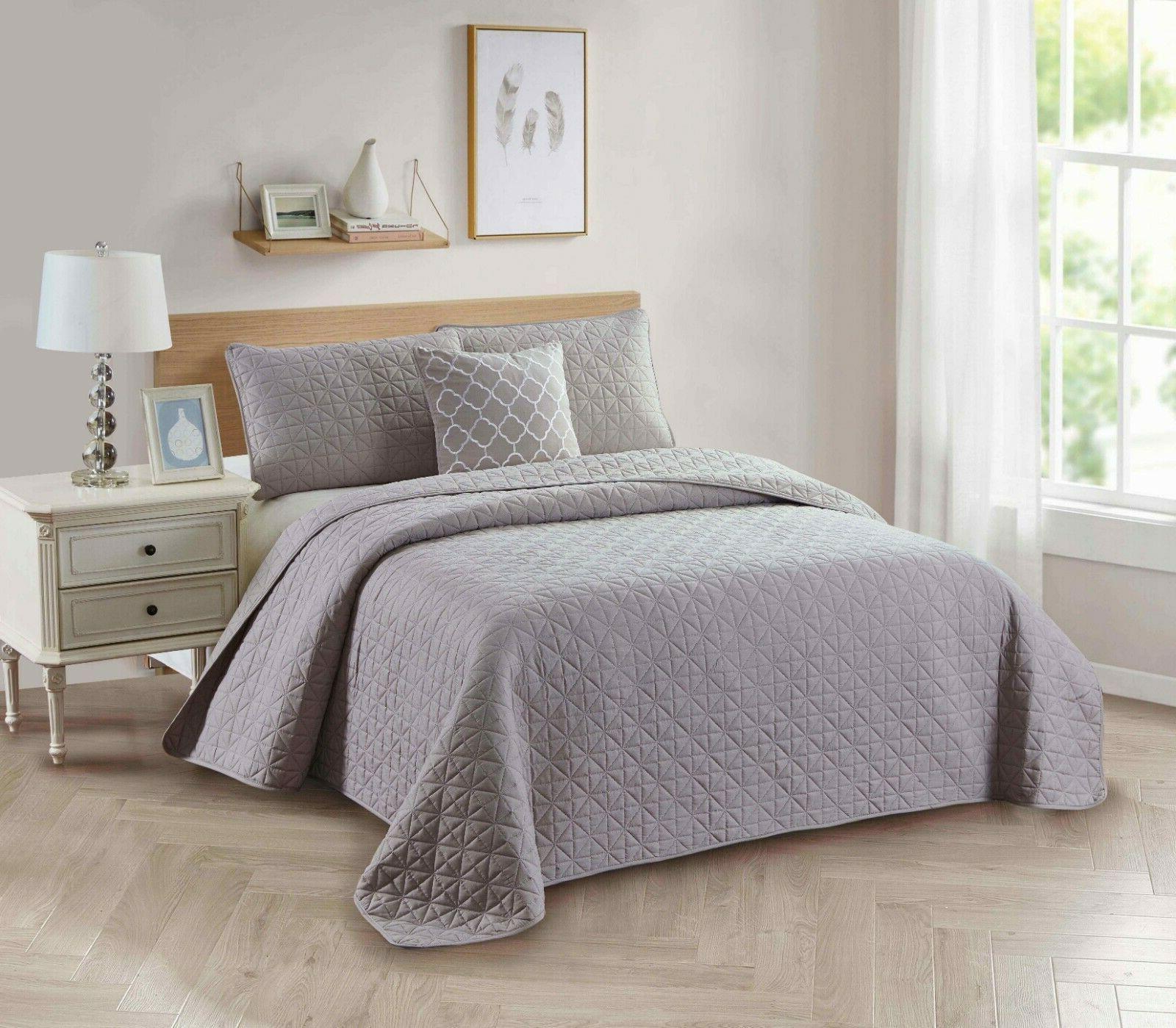 4 piece solid reversible quilt set