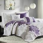 6pc Purple Grey & White Floral Reversible Coverlet Quilt Set