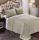 7 pcs bed spread set queen sage