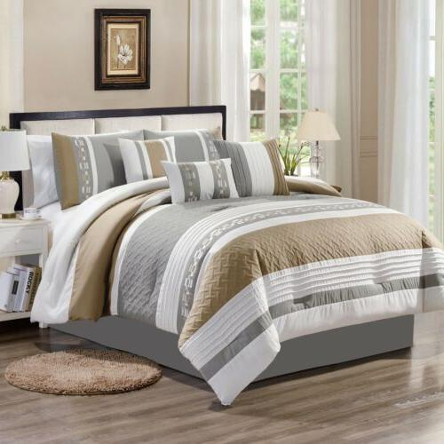 7 piece basket weave striped embroidered comforter