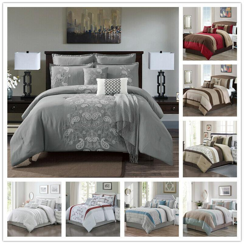 7 piece comforter set complete bed in