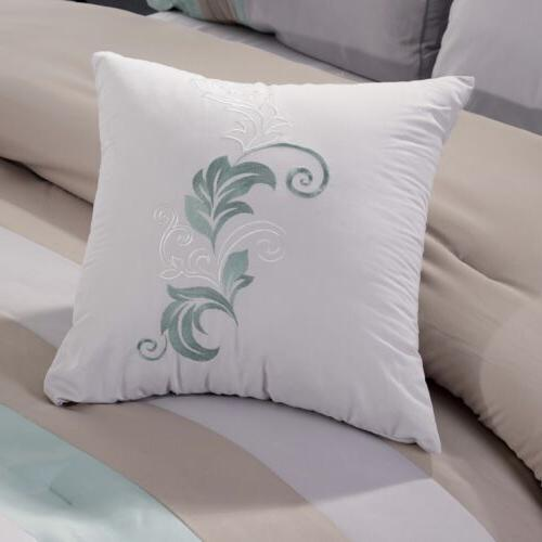 Leaves Embroidery Comforter Set