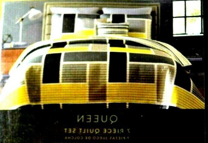 7 piece morgan quilt set queen yellow