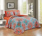 7 Piece Orange Turquoise Floral Thin Quilt Bedspread Set w C