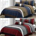 7-piece Pleated Striped Diamond Quilted Embroidered Comforte