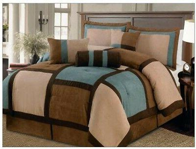 7 pieces aqua brown and beige micro