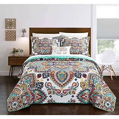 8 Piece Aqua Blue Orange Large Paisley Quilt King Set Hippie