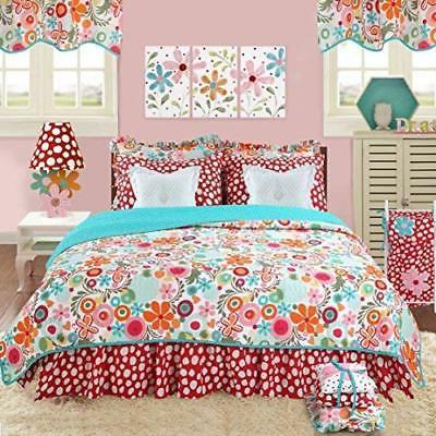 8 Piece Girls Garden Floral Pattern Quilt Queen Size Set Cha