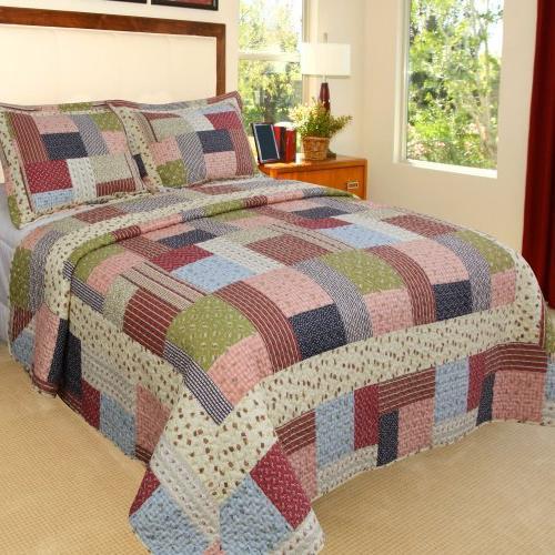 Bedford Home Savannah Printed 3-Piece Quilt Set, Full/Queen