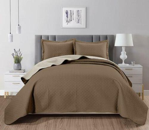 Chezmoi Collection Mesa 3-piece Oversized Reversible Bedspre