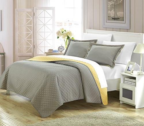 Chic Home Piece Teresa Reversible Color Modern Quilt Yellow