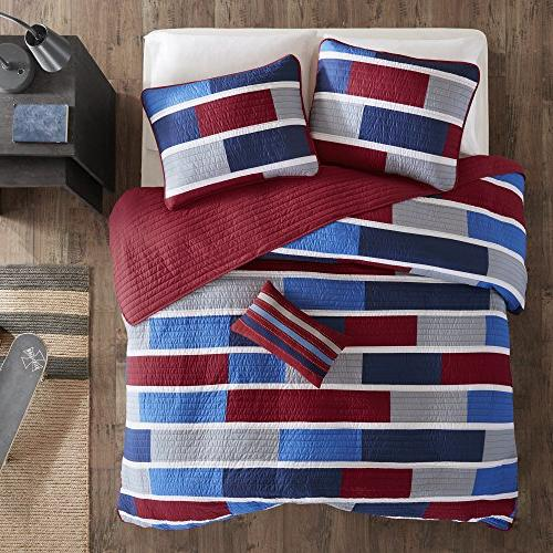 Mi-Zone Set - Navy, Color Block Piece Boys Bedding Coverlets Microfiber Coverlet