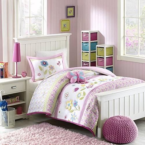 Mizone Kids Spring Bloom 4 Piece Comforter Set, Multicolor,