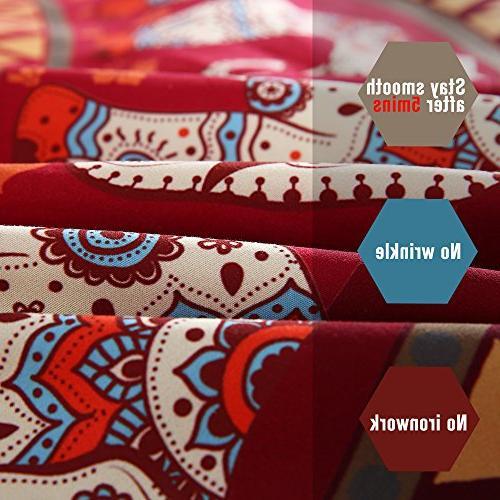 Sleepwish Red Mandala Elephant Ring Duvet Set Full