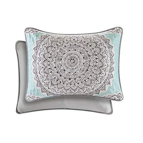 Bedding Twin Set - 2 - Blue/Aqua/Grey - Printed Medallions Pattern - Twin Bedding Fit Xl -