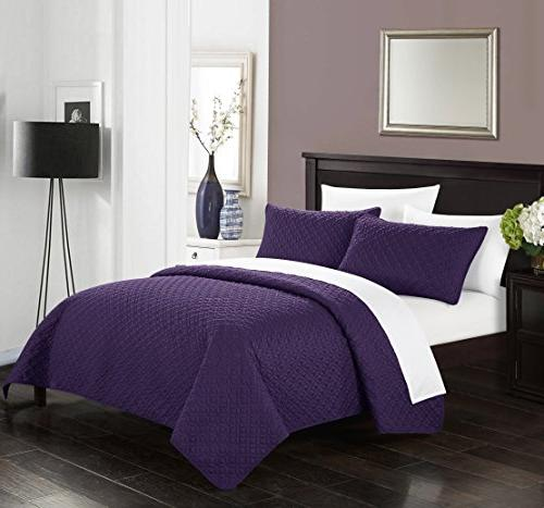 Chic Home Amandla Piece Cover Set Star Quilted Pillow Included, Purple