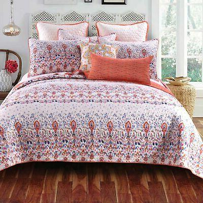 Amber Cotton Blend 3-piece Quilt Set White, Blue, Orange
