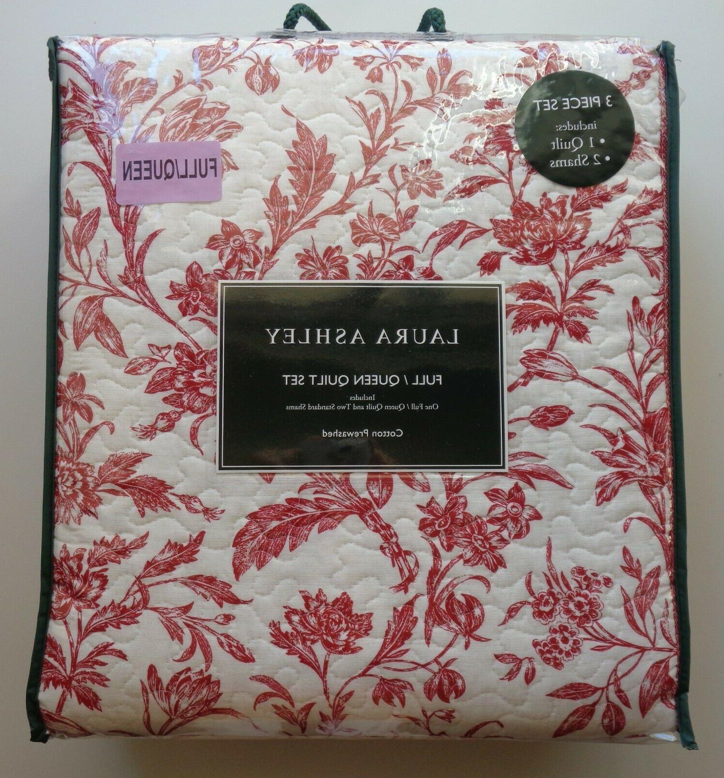 Laura Cranberry Pc Quilt Queen RED