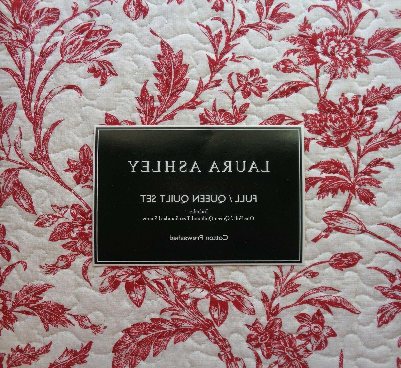 Laura Ashley Cranberry Quilt Set RED