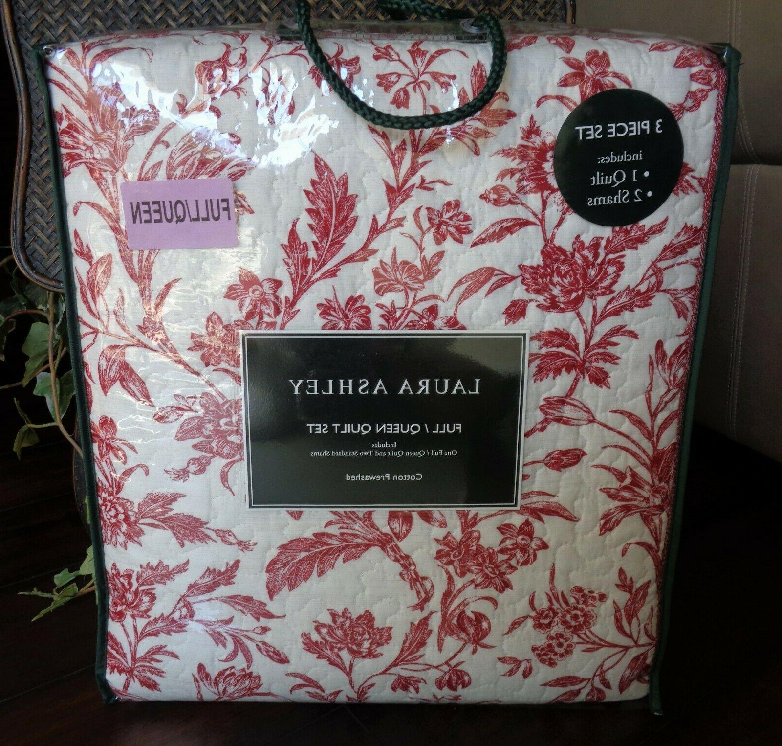 Laura Ashley Cranberry 3 Pc Quilt Queen RED