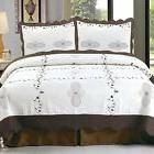 Bedford Home Athena Embroidered 3-Piece Quilt Set, Full/Quee