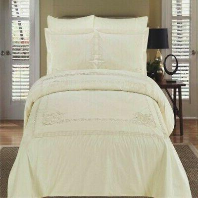 athena ivory embroidered full size duvet cover