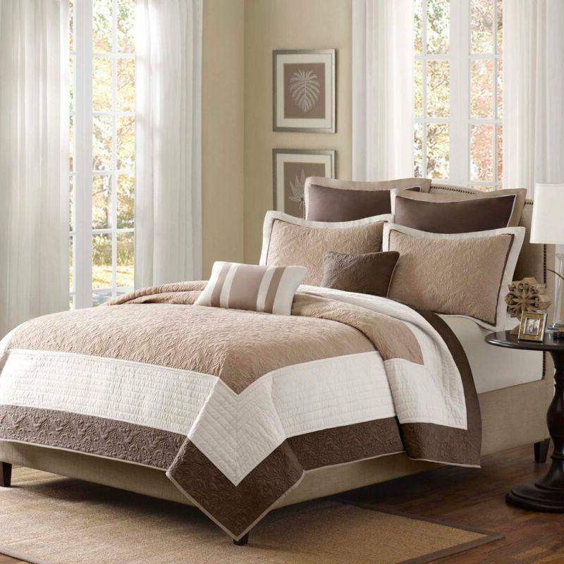 Madison Park Attingham 7 Piece Coverlet Set Size: King, Beig
