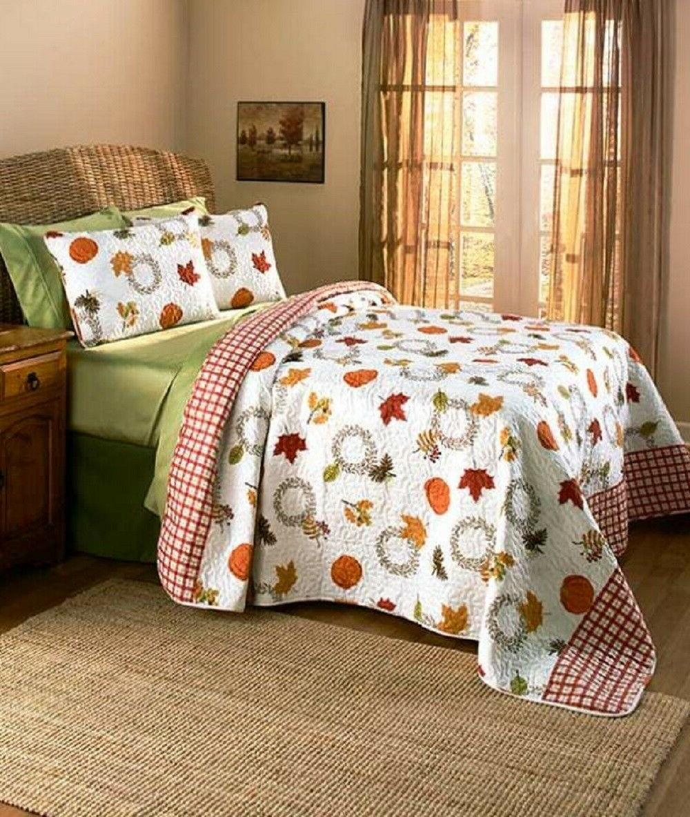 Autumn Quilt Vermicelli Stitching 3 Pc Bed Fall Decor