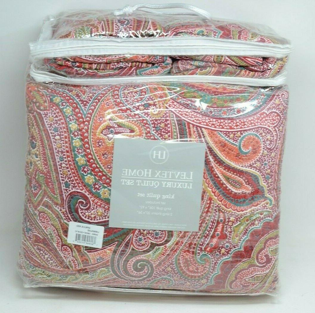 Levtex King Reversible Quilt Red
