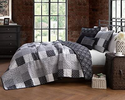 Avondale Manor Evangeline 5-piece Quilt Set, Queen, Black