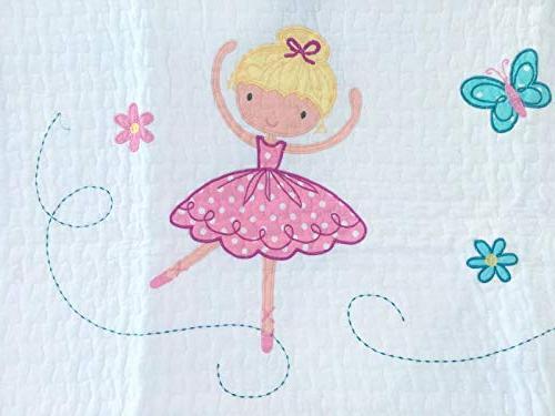 Cozy Ballerina Quilt Set, Pink Light Purple Bedspread for Girl
