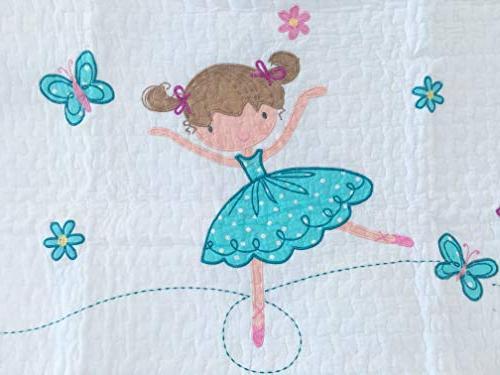 Cozy Line Ballerina Princess Quilt Set, Orchid Light 100% Cotton Bedspread Kids Girl