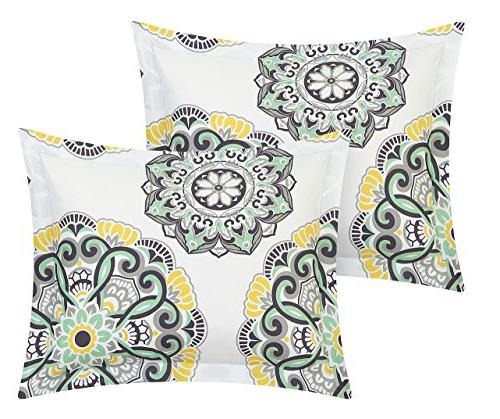 Chic 6 Piece Set Geometric Medallion Twin Grey
