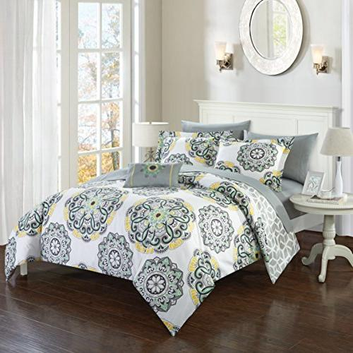 Chic 6 Piece Comforter Geometric Medallion Pattern Twin