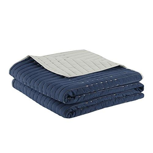 Comfort Quilt Blue and Gray Set – Stitches Includes / 2 Shams