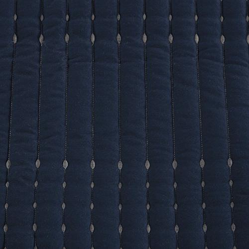 Comfort Spaces Quilt Navy and Gray 3 Piece Set – Stitches Full/Queen Size Quilt Includes Queen /