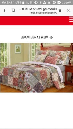 Be-You-Tiful Home Naomi Quilt Patchwork  Set   Queen. Nib Fl